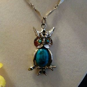 OWL WITH TURQUOISE BODY NECKLACE